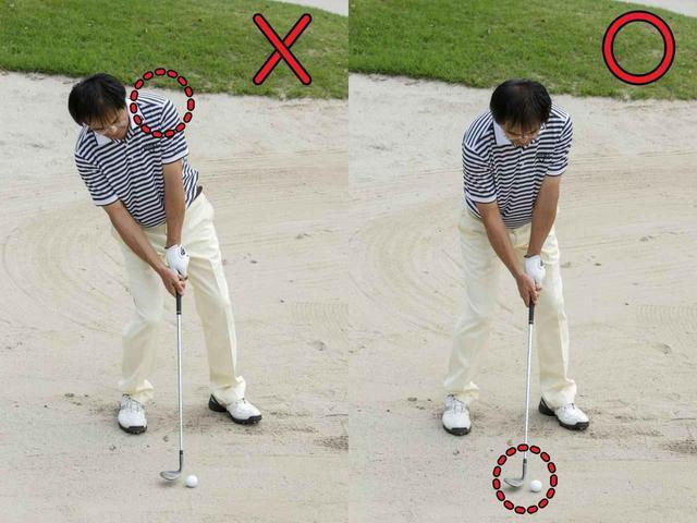 画像: ウェッジはボールではなく「砂を打つ」道具。「上げる」ことを意識せず、ヘッドに砂にくぐらせて砂を飛ばすことだけを考えればいい。ボールは砂が勝手に運んでいってくれる。そうイメージできれば、肩のラインは左上がりにはならないし、重心配分も右寄りにはならないはずだ