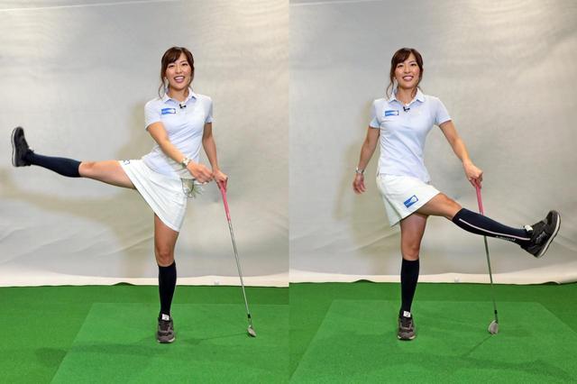画像: 左右に足を振り股関節を意識して動かす。反動を付けながら足をなるべく高くあげる