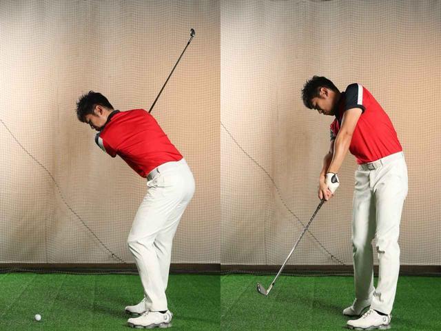 画像: 左ひざは、左の股関節が切れ上がるように伸びる。腰が飛球線方向にスウェイしたり、後ろに引けてしまうのはNG動作