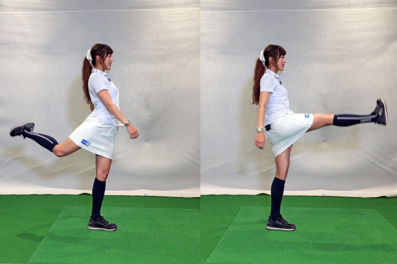 画像: クラブを支えにして片足立ちとなり、浮いた方の足を前後に振る