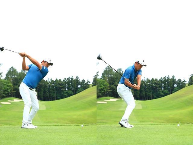 画像: (写真B)低くフラットなトップ(左)から、最適な軌道(右)でダウンスウィングに入っている