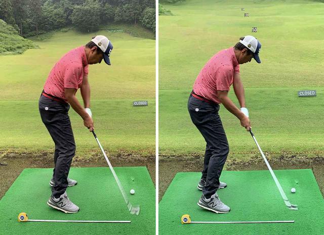 画像: 左のいつものボール位置よりも7センチ遠く立ったほうが、わずかですがクラブがインサイドから入っています