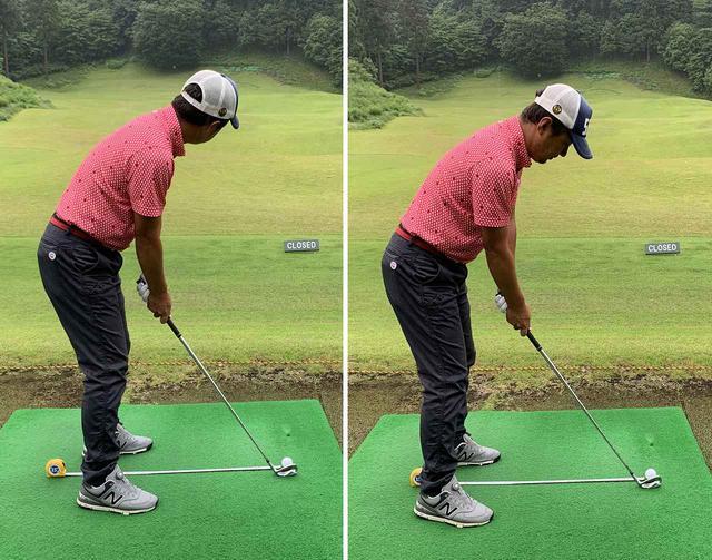 画像: 左がいつのものボール位置で、右が女子プロの平均のボール位置。右のほうがやはり懐に余裕があります。