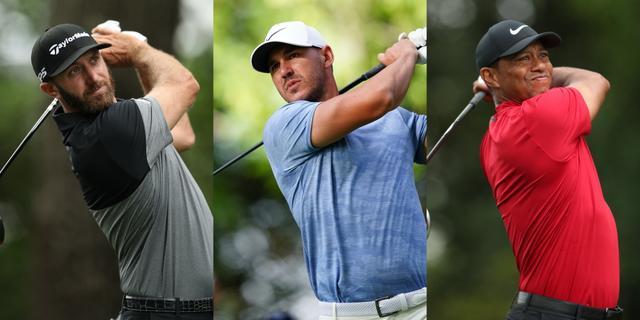 画像: 左からダスティン・ジョンソン、ブルックス・ケプカ、タイガー・ウッズ。全米オープンを制する選手は一体誰?