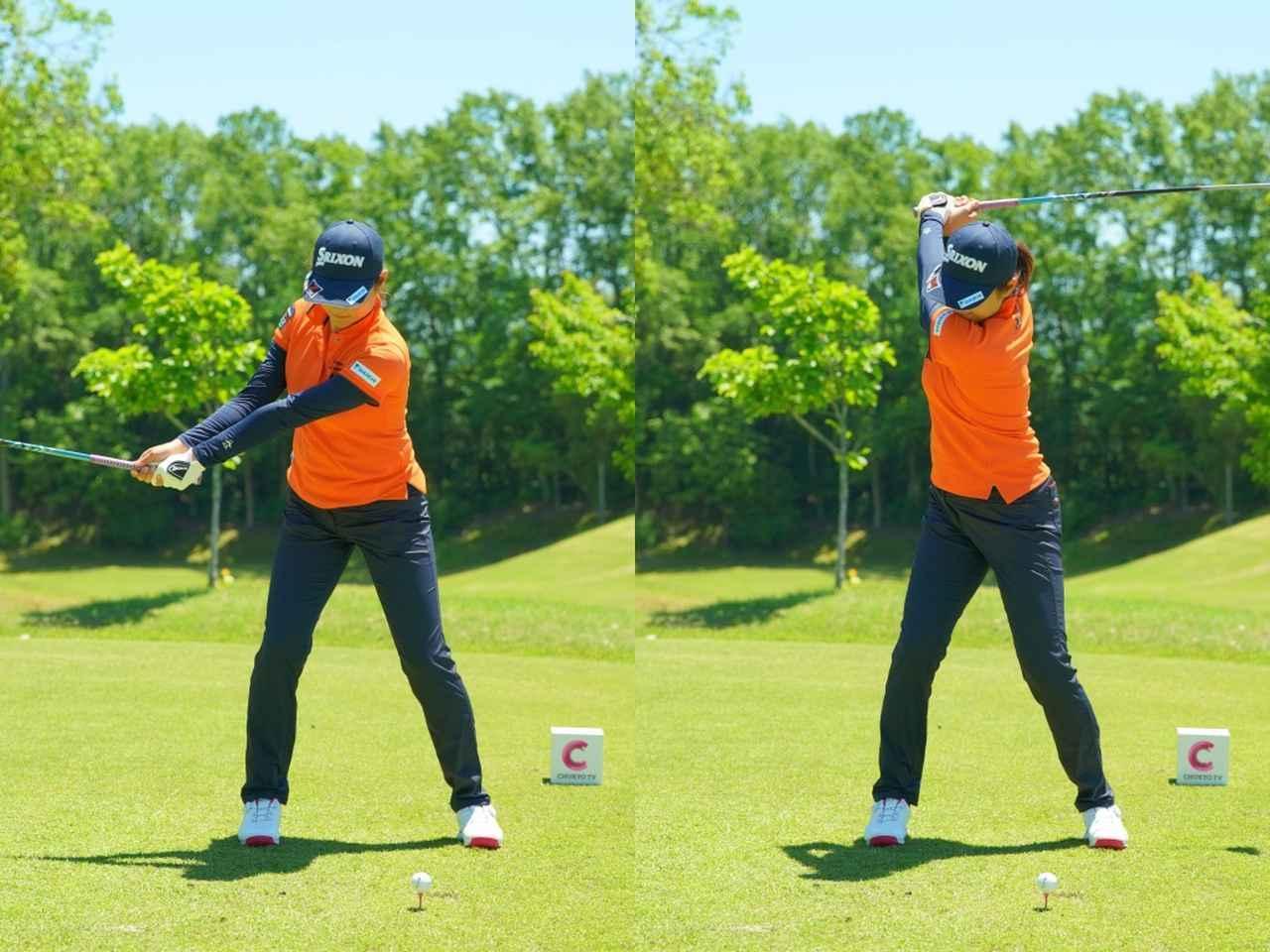 画像: 画像1:左手の甲を甲側には折らずにバックスウィングする(写真は2019年中京テレビ・ブリヂストンレディス 写真/中野義昌)