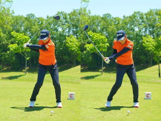 画像: 画像2:ダウンでは左前腕を回外(外に回す)させながらフェースをスクェアに戻していく(写真は2019年中京テレビ・ブリヂストンレディス 撮影/中野義昌)
