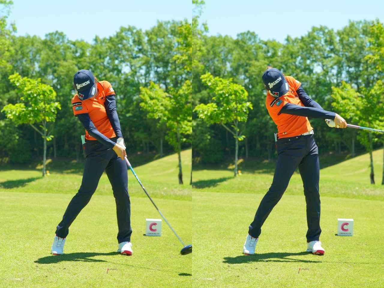 画像: 画像3:左前腕を回外させることでしっかりとフェースローテーションを使い、ボールをつかまえる(写真は2019年中京テレビ・ブリヂストンレディス 撮影/中野義昌)