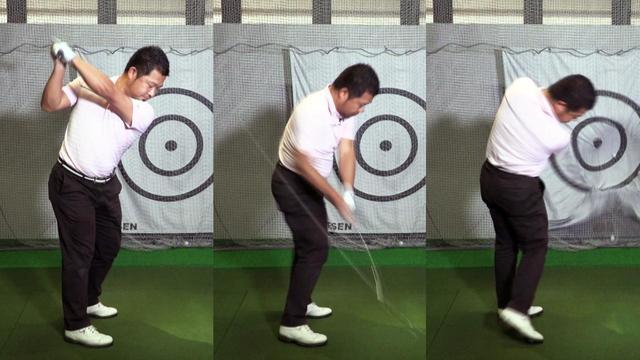 画像: レッスン前の鈴木康介のスウィング。横方向の動きが強い、いわゆる横振りの状態だ