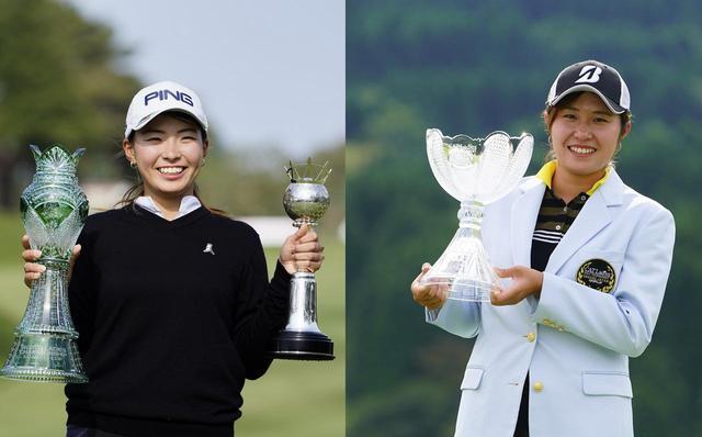 画像: 昨年のCATレディスで初優勝を飾った大里桃子(右)と5月のサロンパスカップで初優勝を飾った渋野日向子(左)