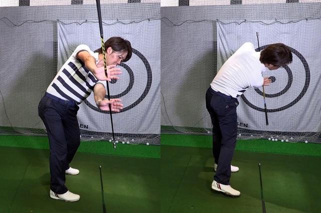 画像: クラブを横に持ち、地面に置いてある手元の軌道に見立てたクラブから外れないように動かすドリル。常に力を外側に出力するイメージで振るのがポイント