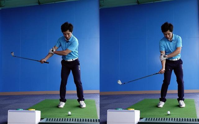 画像: 切り返し時点(左)では右わきは開いているが、ダウンスウィング(右)にかけて締まっていく