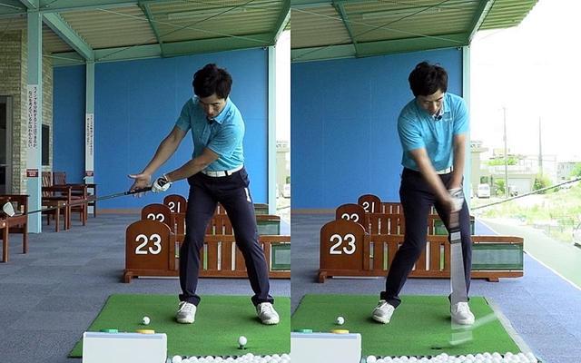 画像: 左手でクラブを握り、右手は指先だけ引っかけてハーフスウィング