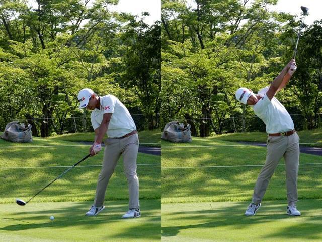 画像: 写真右のフォローで左足がズレている点に注目。これによりスウィングの詰まりが解消され、飛距離アップと正確性の向上につながった