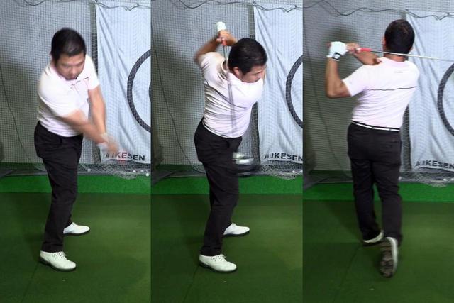 画像: ダウンスウィング(左)で体を回さず、シャフトが背中に当たるまでガマン(中)。そのあと体を左に回す(右)