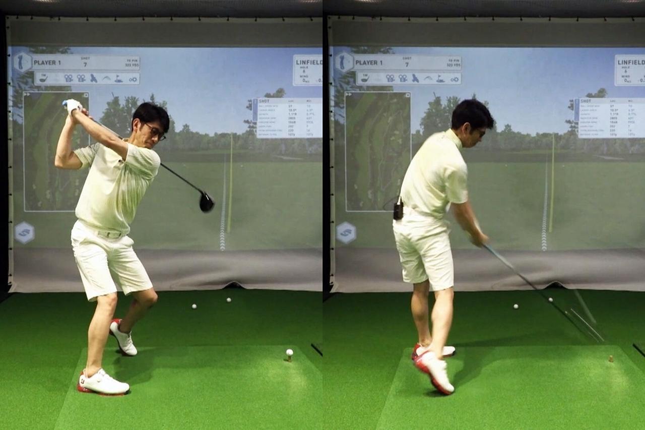 画像: ヒールアップを取り入れたスウィングを実践する柴田