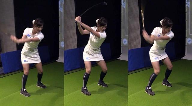 画像: バックスウィング(左)、トップ(中)、ダウンスウィング(右)の写真。下半身に注目すると、トップの段階ですでにダウンスウィングの動きが始まっていることがわかる