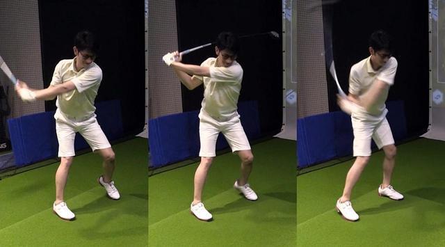 画像: 「踏んで振る」もさっそく実践。「しんどい」といいながらもしっかりスウィングに取り入れることに成功