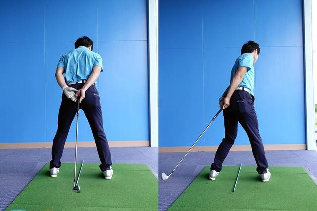 画像: 体を通っている軸(写真のクラブ)が、バックスウィング(右)では左を向くくらい腰を回そう