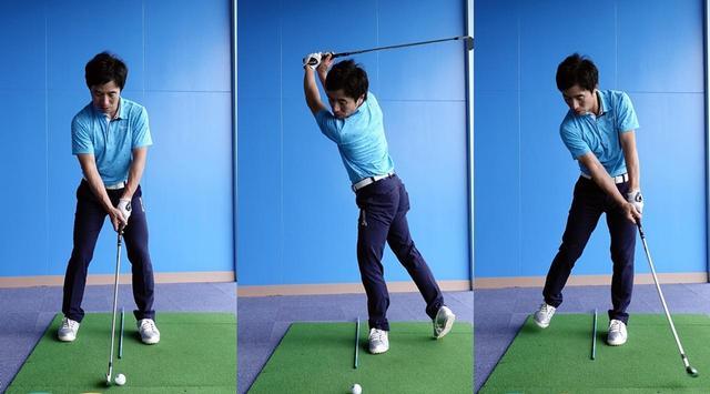 画像: 右足を思い切り後ろへ引くことで、骨盤を右に向けるイメージがつかみやすい