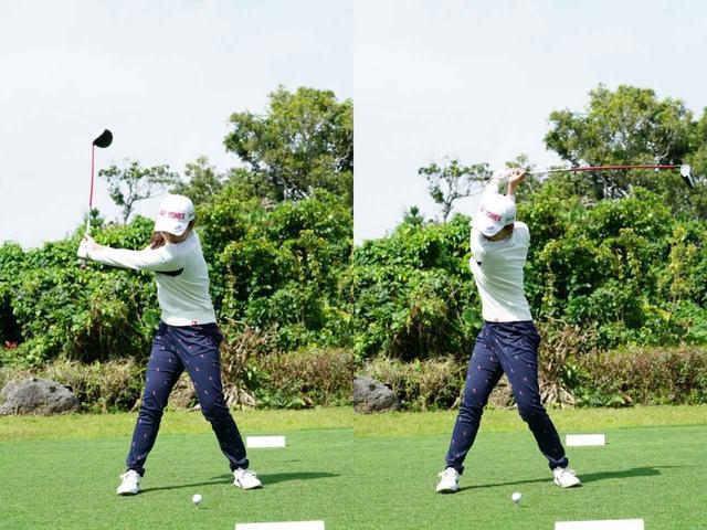 画像: 左腕が地面と平行になるところでクラブとの角度が90度になるアーリーコックのタイプの石井
