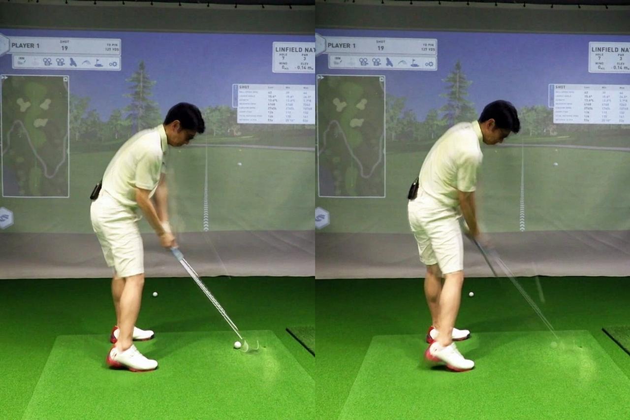 画像: インパクト前後のクラブの動きを見ると、アウトサイドイン軌道になってしまっている