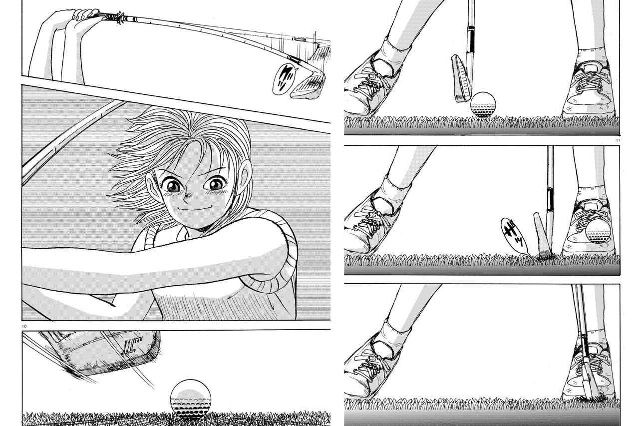 画像: オープンスタンスで切り返しの瞬間に掌屈し腕のポジションを下げてシャフトをしならせ、インパクトから低く長いフォローで振り抜いている