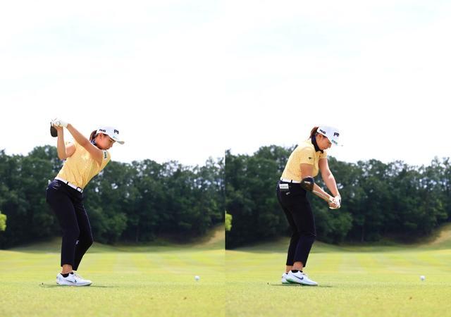 画像: トップからの切り返しで左手首が手のひら側に折れる掌屈の動き。その角度はダウンでもキープされたままだ(写真は中京テレビブリヂストンレディス 写真/大澤進二)