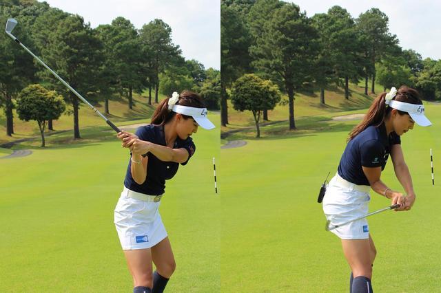 画像: 切り返しで左手首を内側に折ることで打ち出し角を抑え(写真左)、インサイドからクラブを下ろすことで入射角を浅くする(写真右)作戦で、ツバメボールに挑む