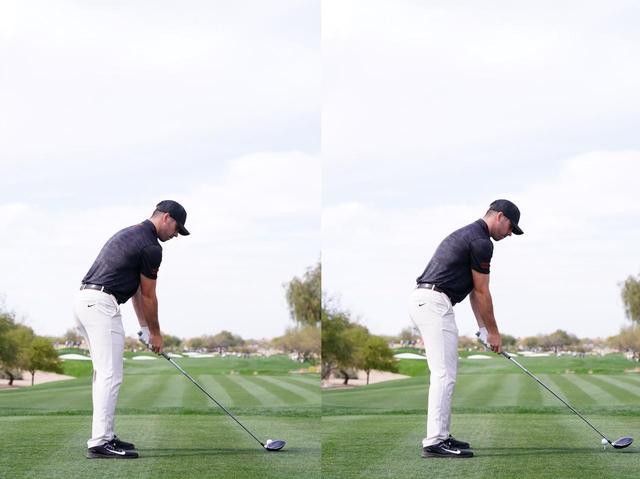 画像: 始動の前に右腰を前に出し(左)、戻すと同時にクラブを上げる(右)。このフォワードプレスも特徴的