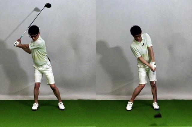画像: バックスウィングで右足にガッツリ乗せた体重が、切り返し以降でそのまま残ってしまうのが柴田の悩み