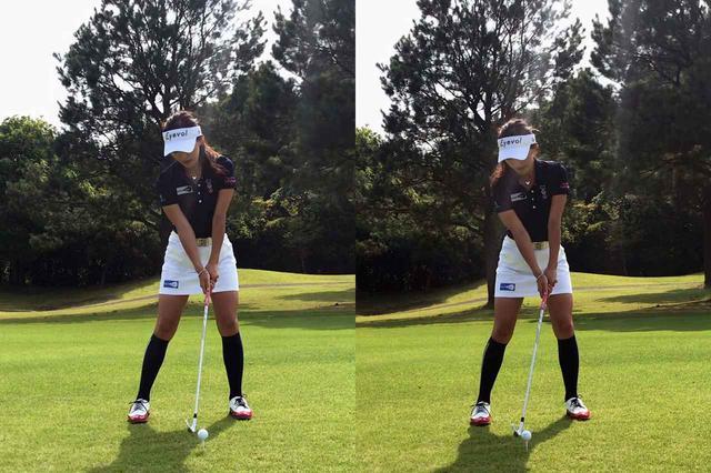 画像: 1球目のボール位置(左)と2球目のボール位置(右)。ロフトを立ててインパクトするためボール位置を右側に調節した