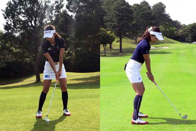 画像: 3球目の小澤のアドレス。2球目より更にボール位置を右に調節し、通常よりボールの近くに立った