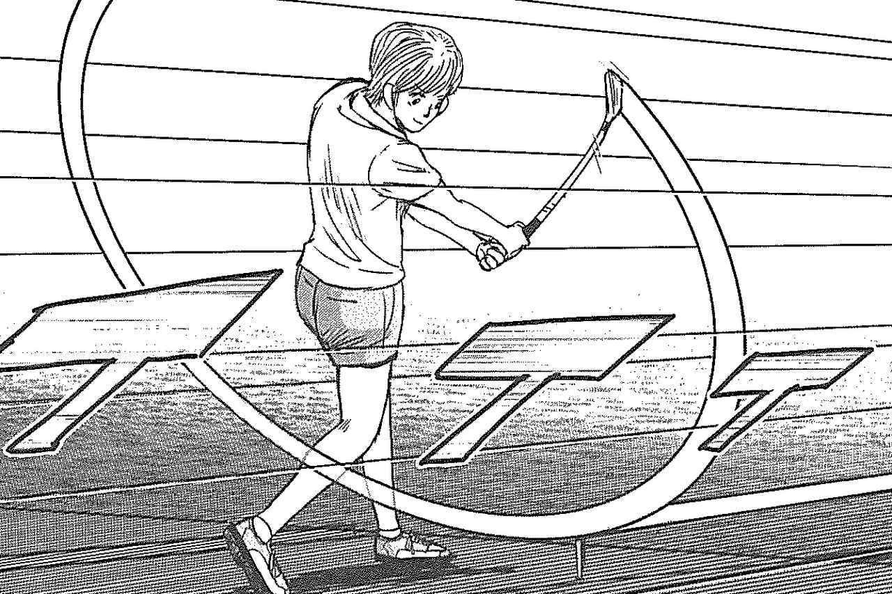 画像: ティを全く動かすことなく地面を這うような超ローボールを打つとんぼ。