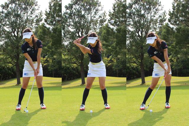 画像: 4球目のスウィングイメージ。左足体重で構え、コックを大きく使いバックスウィングし、手首の角度をキープしたままヘッドを鋭角に下ろす