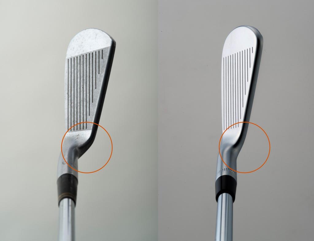 """画像: ヒールが高くネックとトップラインのつながりに""""クセ""""がある昭和のプロモデル(左)。現代プロモデルは、ヒールの低い米国シェイプ(右)が主流"""