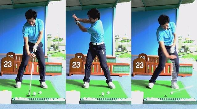 画像: クローグリップで握ることで、ボールを押すための右ひじの角度がつかめる