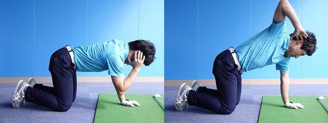 画像: 四つん這いの体勢から、右ひじを上に向けるように右上半身を動かそう。このとき、「おへそが横を向きすぎないように注意してください」と原田