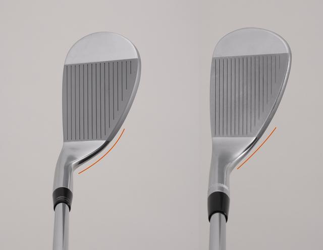 """画像: 日本の名プレーヤーが編み出した丸型""""グースネック""""ウェッジ(左)と、米国スタイルのティアドロップ""""ストレートネック""""ウェッジ(右)"""