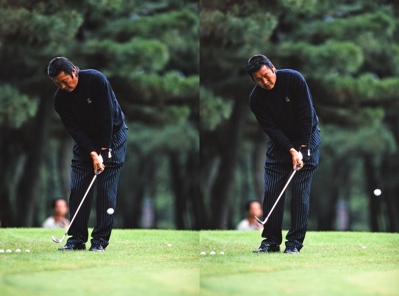 画像: 尾崎将司、3勝を挙げた1998年のアプローチ練習の一幕