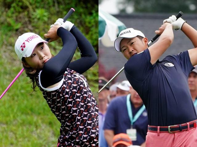 画像: 昨シーズン賞金王の今平周吾(右)はクラブを短く持つことで有名だが、それ以上に短く握っている石井理緒(左)