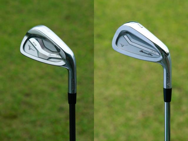 画像: 原のエースアイアン「ミズノプロ918」(左)とニューモデルアイアン(右)。形状は似ているが、ニューモデルはキャビティ部分が大きくえぐられ、さらにやさしく見える