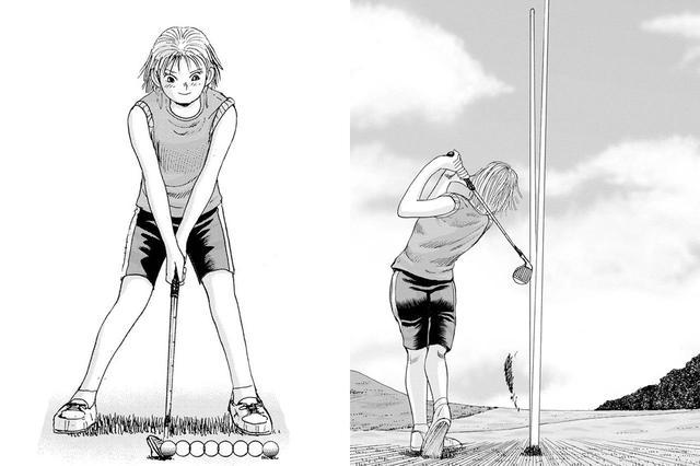 画像: オーイ!とんぼの主人公、とんぼが単行本第2巻で披露している、縦に2個並べたボールを1スウィングで打つテクニック。しかもボールの間隔はおよそ30cmだ。