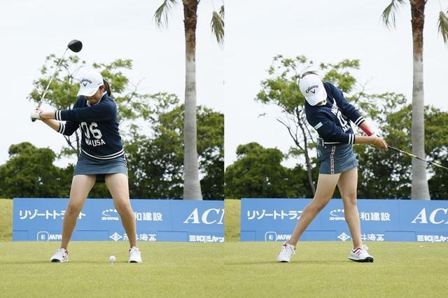 画像: 画像A:切り返し(左)→フォロー(右)で腰がターゲット方向を向くように動いている(写真は2019年のリゾートトラストレディス)