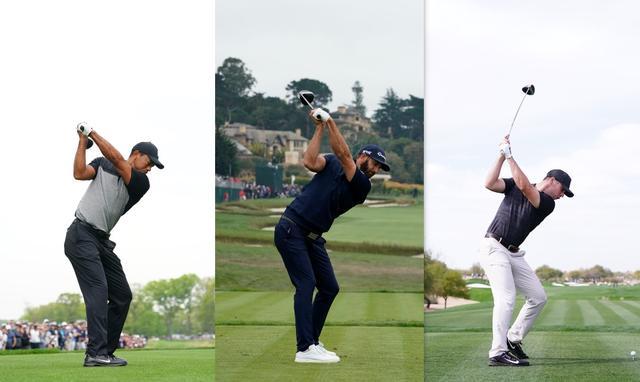 画像: 左からタイガー、ダスティン・ジョンソン、マシュー・ウルフのトップ。形はまったく違うが、選手それぞれにとって効率的であればそれでOK