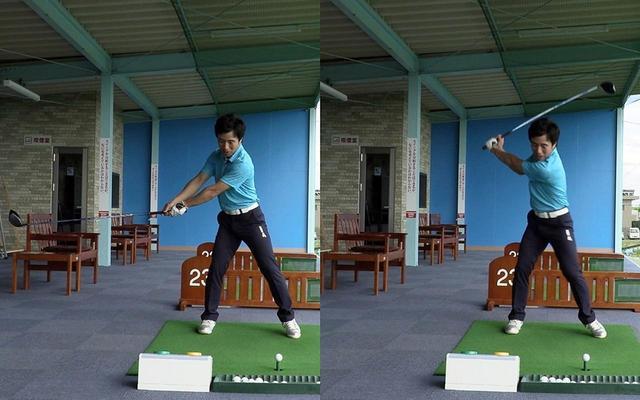 画像: クラブが地面と平行になった状態(左)からスウィングを始めると、飛ばすために自然とクラブが上がる(右)。このときのポジションが、自然なトップの位置になると原田は言う
