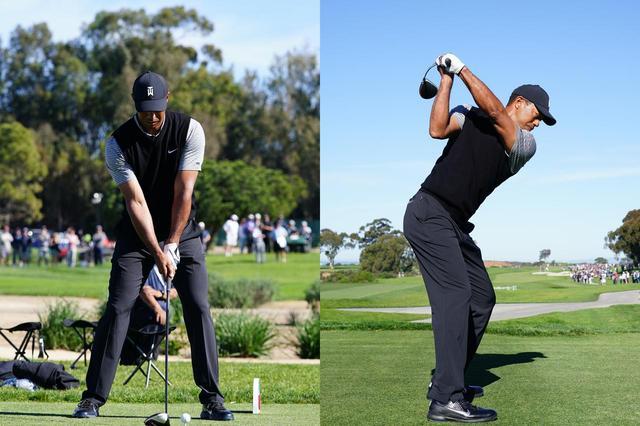 画像: タイガー・ウッズのアドレスとトップ。左手のグリップはスクェアかややストロングで、トップのフェースはほぼ45度(写真は2019年のファーマーズインシュランスオープン 撮影:姉崎正)