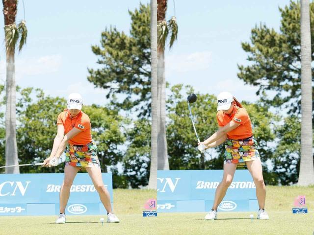 画像: 画像B:両わきが締まり、腕が体の正面から外れないことで振り遅れず、インパクトでボールにエネルギーをしっかり伝えられている
