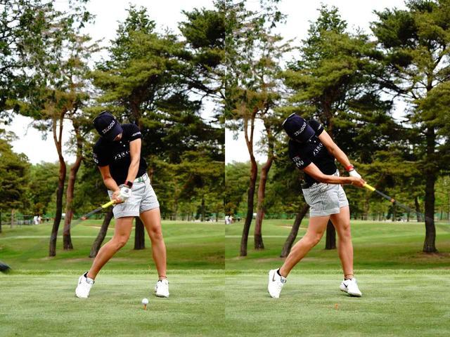 画像: 画像B:前傾した状態で肩が縦にまわすことでアッパー軌道で打てている(写真は2019年サロンパスカップ 撮影/三木崇徳)