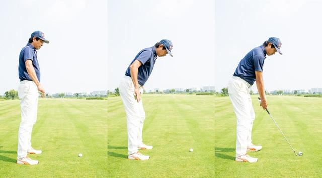 画像: まっすぐ立った状態から、ひざを適度に曲げて、両足の付け根辺りを軸に前傾姿勢をとる