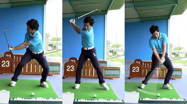 画像: イチ(左)でスウィングを止め、シャローに下りてきているか確認、ニ(中)でもう一度振りかぶって打つ。クラブと体の動きを確認しつつ練習できる
